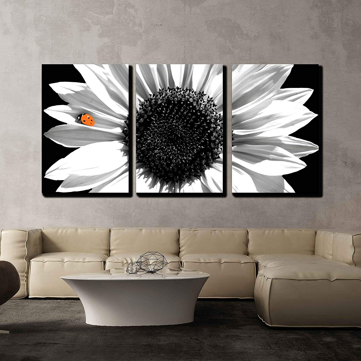 Black And White Wall Art With Newest Sunflower In Black And White With Red Ladybug X3 Panels – Canvas Art (View 8 of 15)