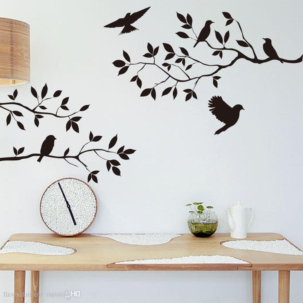 Black Bird And Tree Branch Leaves Wall Sticker Decal Removable Birds With Widely Used Wall Tree Art (View 3 of 15)