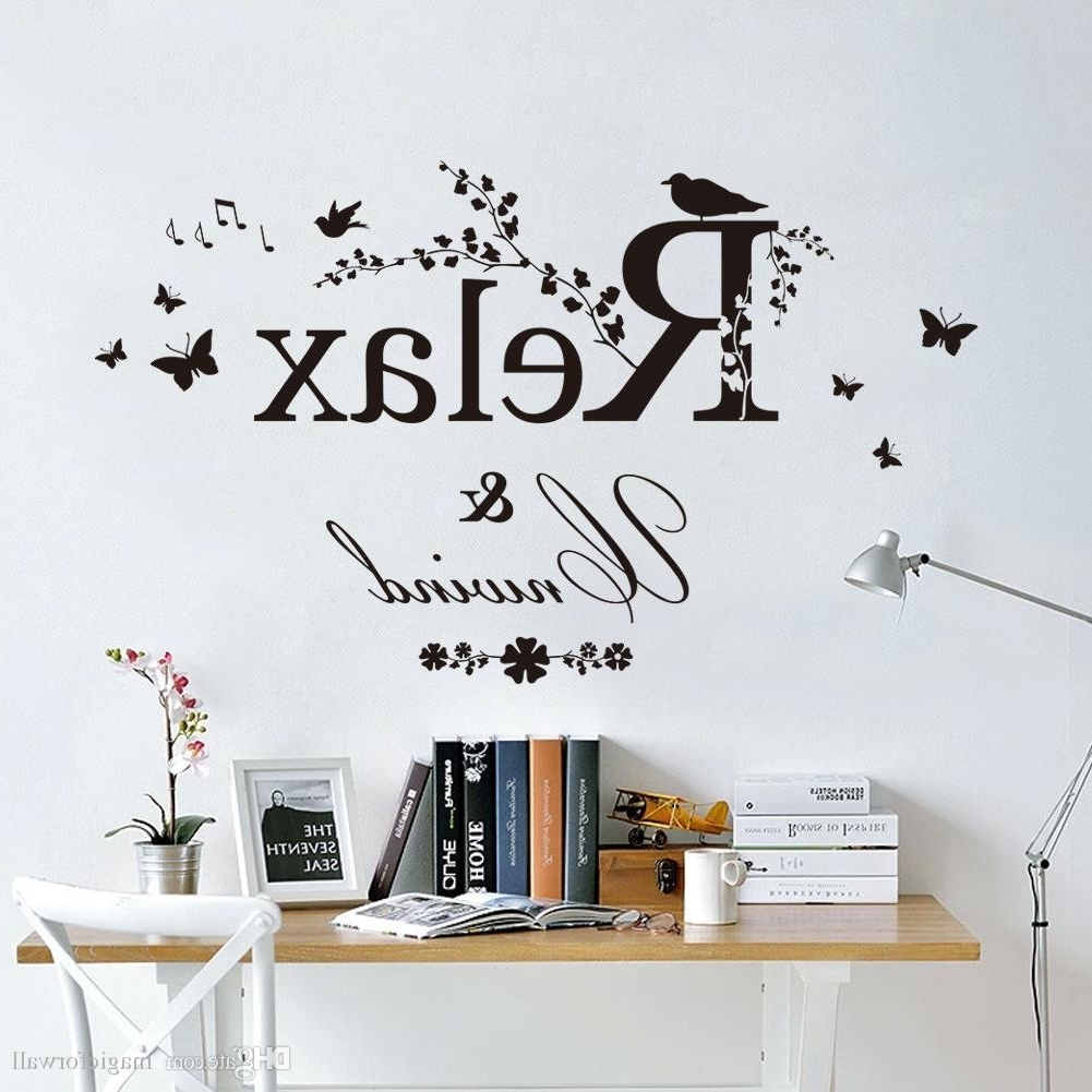Black Butterfly Tree Branches With Leaves Birds Wall Stickers Relax Inside Most Up To Date Wall Sticker Art (View 3 of 15)