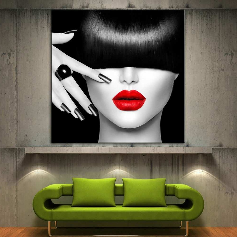 Black Canvas Art Luxury Red Lips Face Modern Canvas Home Fine Wall With Regard To Best And Newest Red And Black Canvas Wall Art (View 15 of 15)