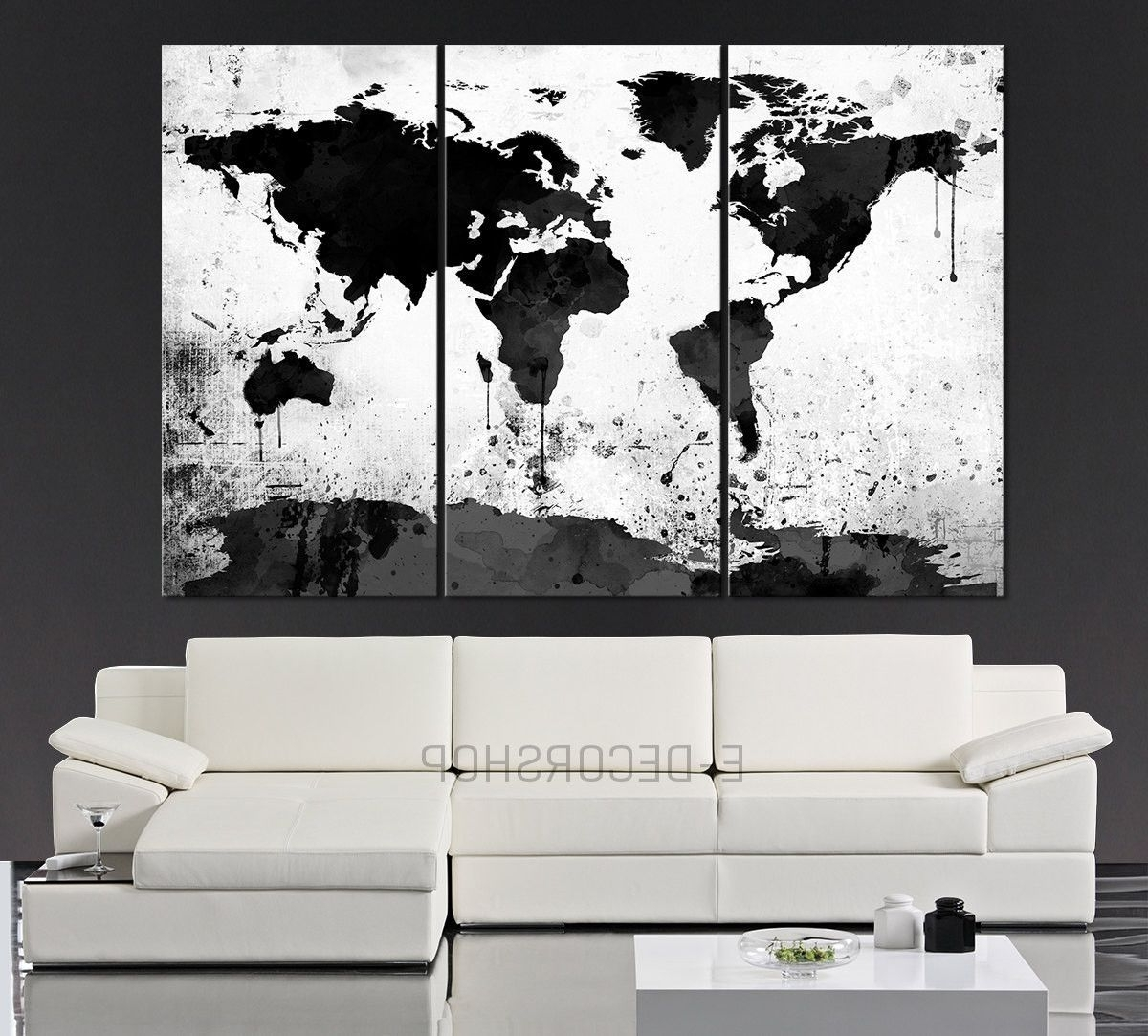 Black Wall Art Pertaining To Favorite Large Black White World Map Canvas Print – 3 Piece Watercolor Splash (View 14 of 15)