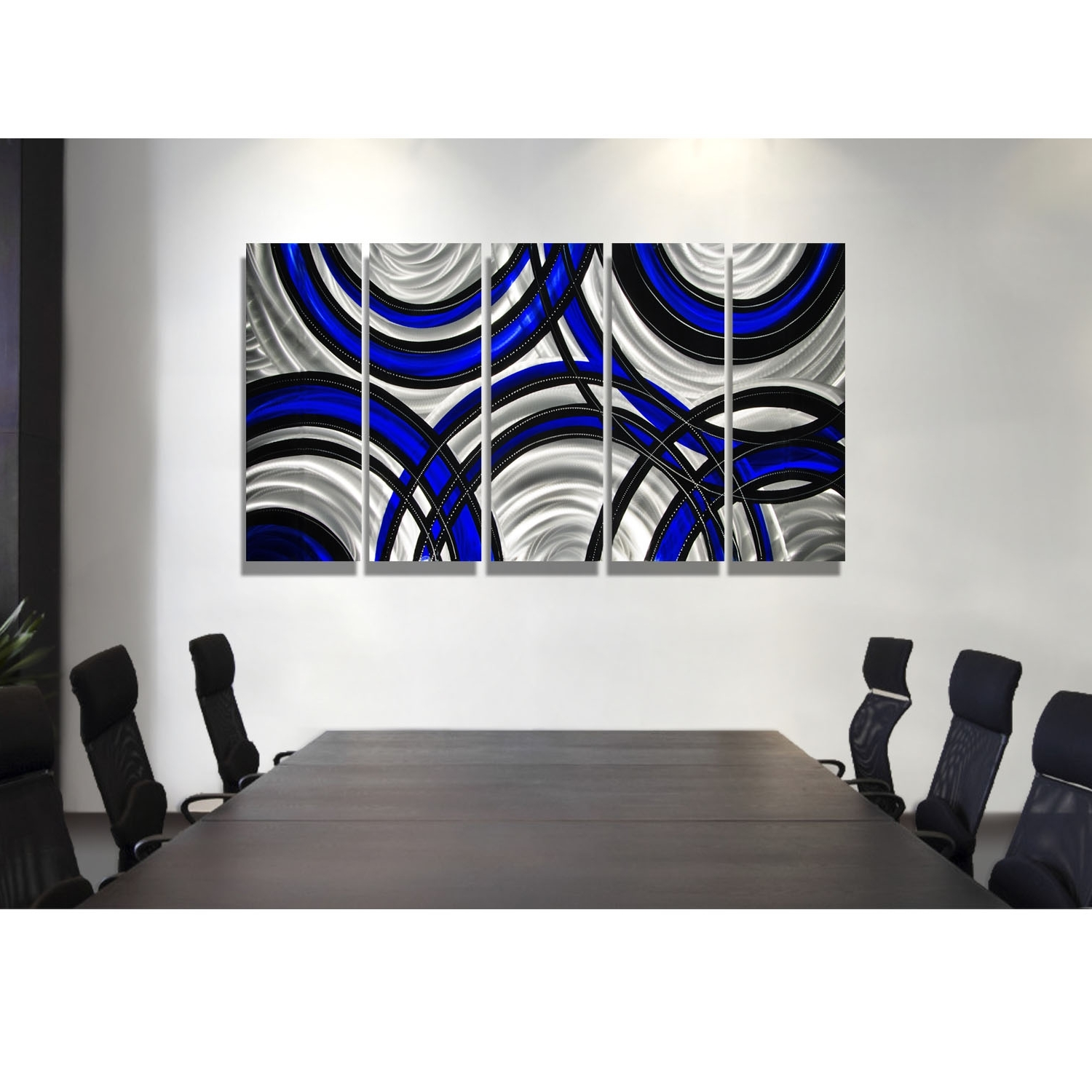 Blue Synergy – Blue, Black And Silver Metal Wall Art – 5 Panel Wall Regarding Best And Newest Black Wall Art (View 8 of 15)
