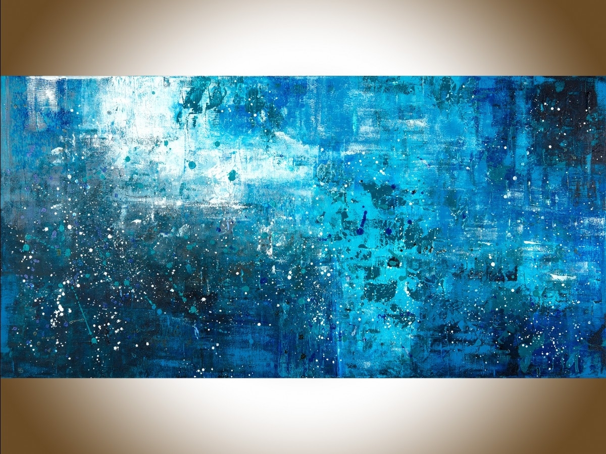 """Blue Wall Art Intended For Well Liked Pouring Rainqiqigallery 48"""" X 24"""" Large Wall Art Blue Abstract (View 14 of 15)"""