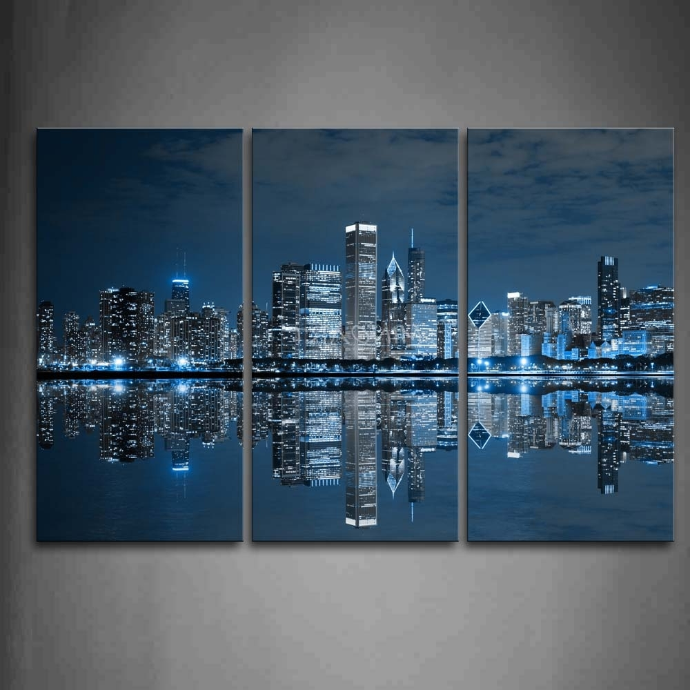 Blue Wall Art pertaining to Most Current 3 Piece Blue Wall Art Painting Cool Buildings In Dark Color In