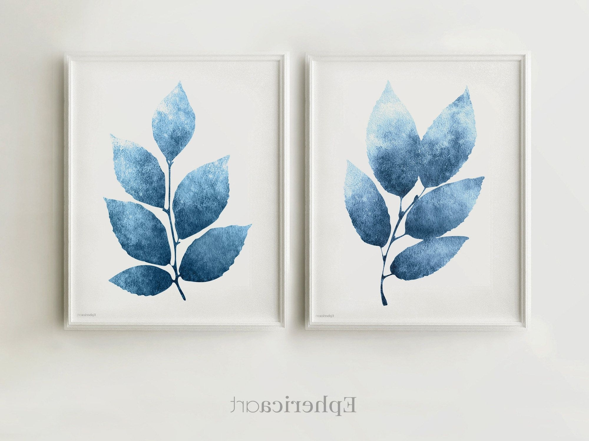 Blue Wall Art Set Of Two Prints, Navy Blue Artwork Botanical Modern Pertaining To Most Up To Date Navy Blue Wall Art (View 2 of 15)