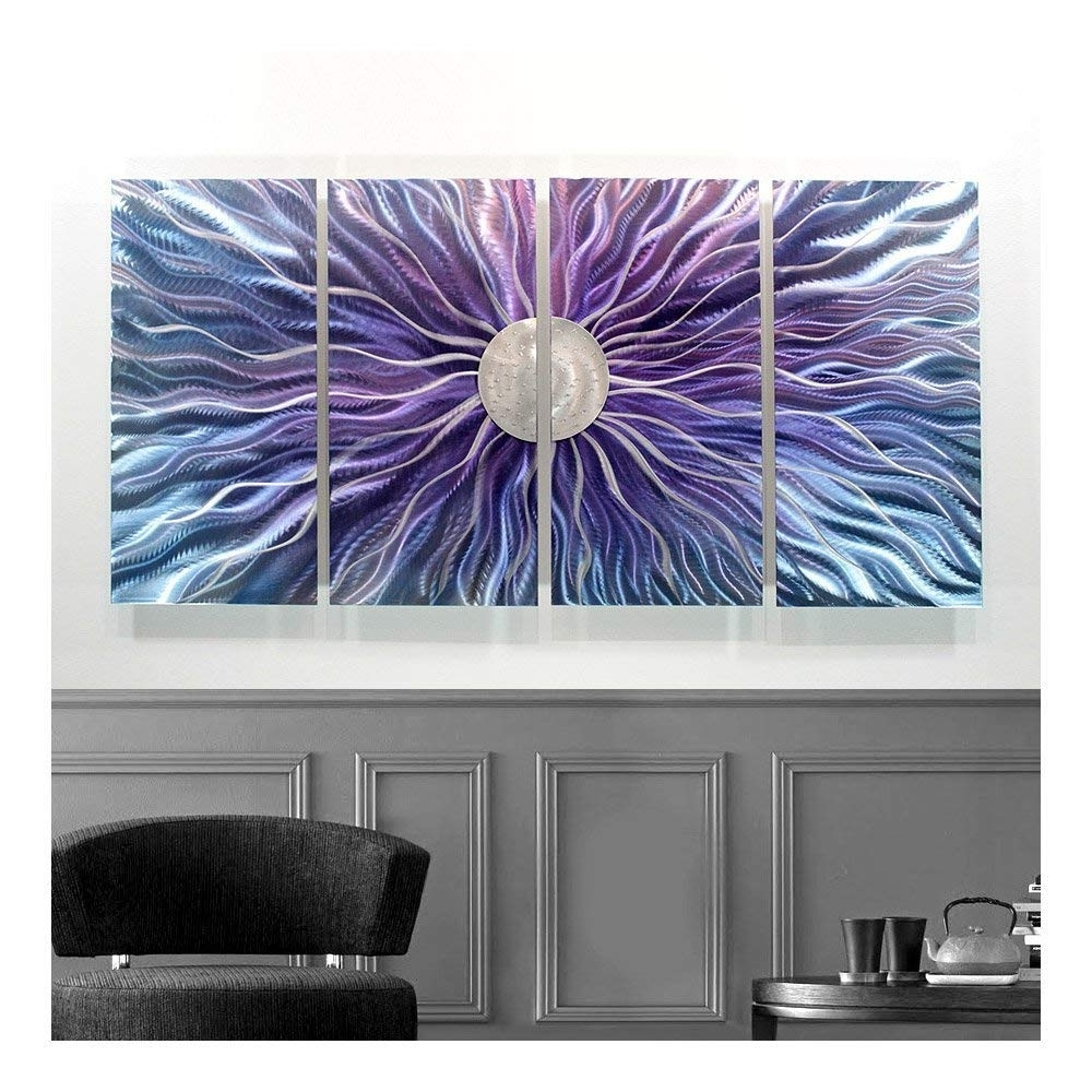 Blue Wall Art Throughout Latest Amazon: Large Blue, Purple, And Silver Metal Wall Art Painting (View 12 of 15)