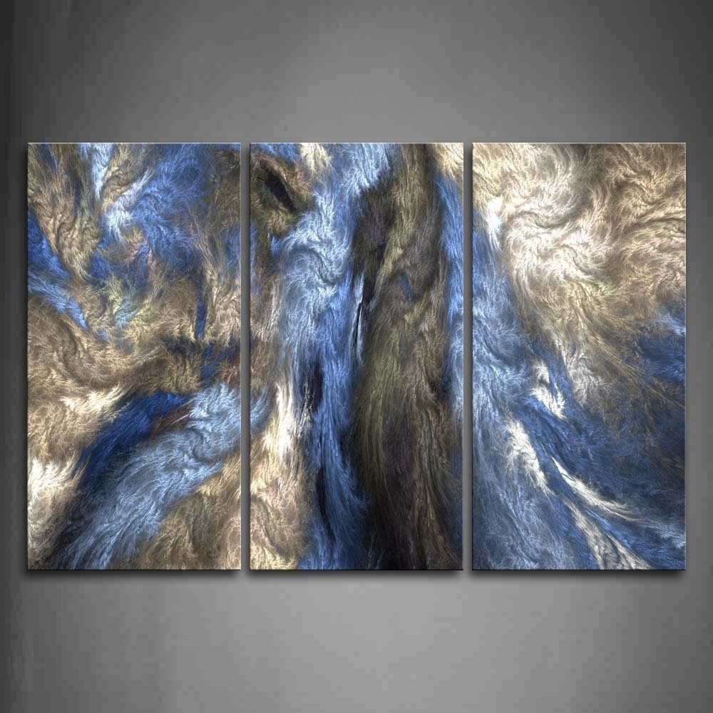 Blue Wall Art Throughout Well Known Gray Blue Modern Canvas Art Abstract Oil Painting Wall Art With (View 9 of 15)