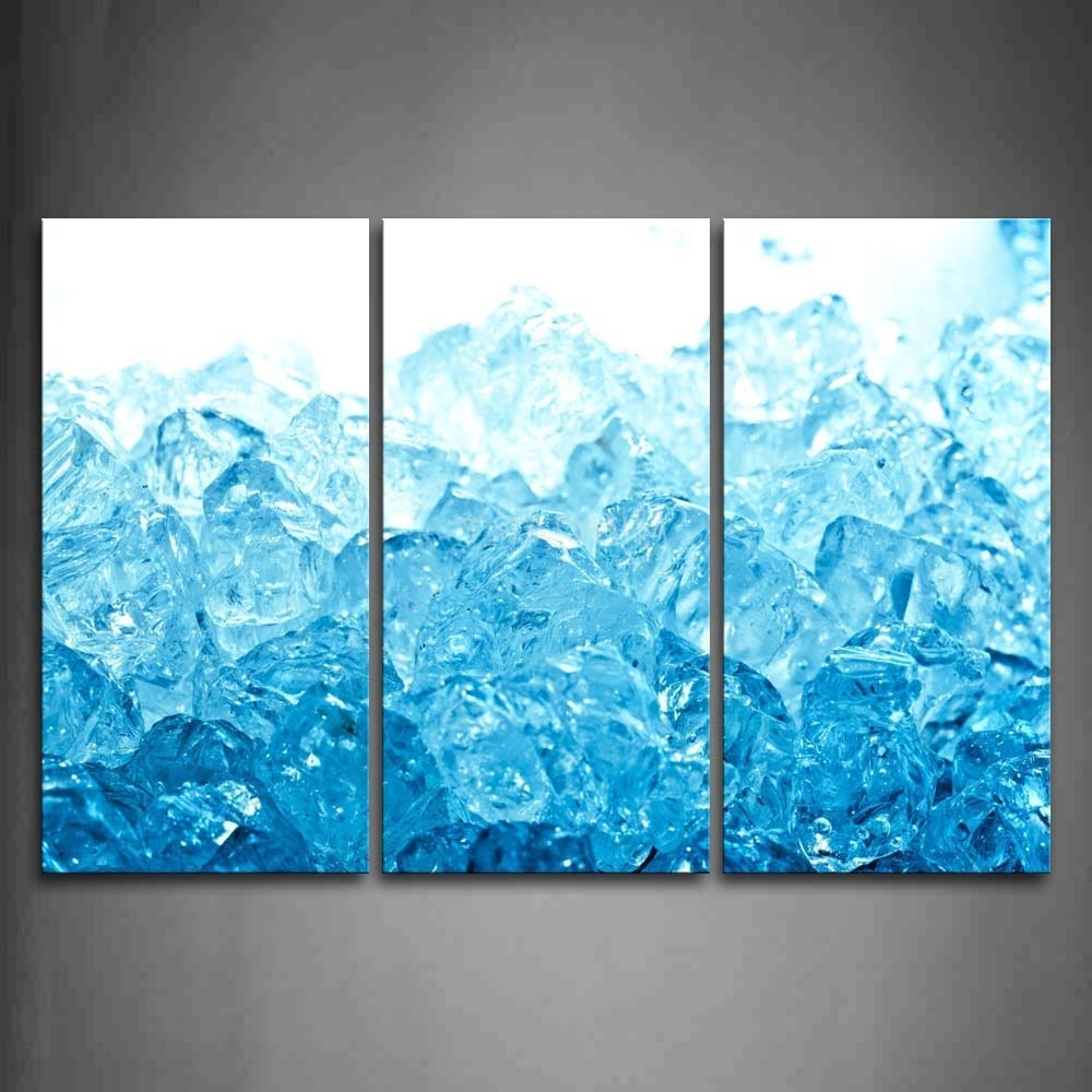 Blue Wall Art With Regard To Widely Used 3 Piece Wall Art Painting Ice Cubes In Blue Like Little Ocean (View 11 of 15)