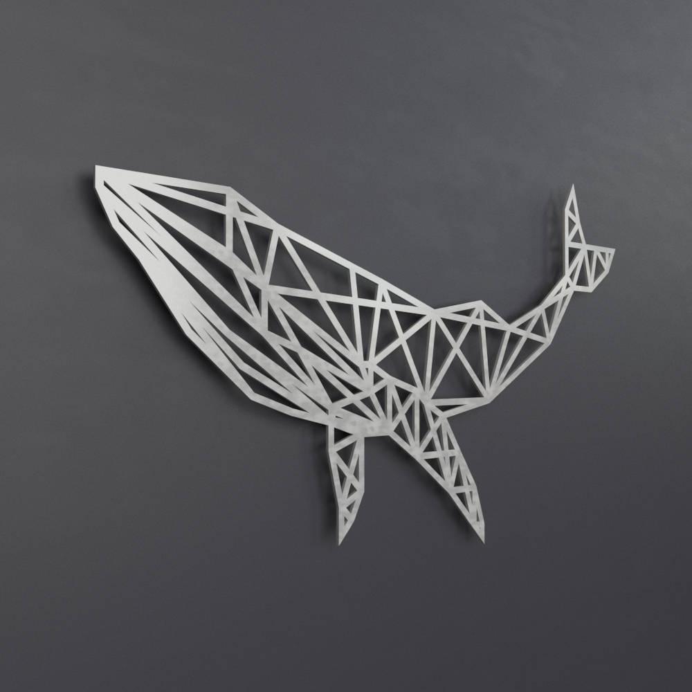 Blue Whale Metal Wall Art Sculpture, Geometric Wall Art, Whale Wall Throughout 2017 Geometric Metal Wall Art (View 7 of 15)