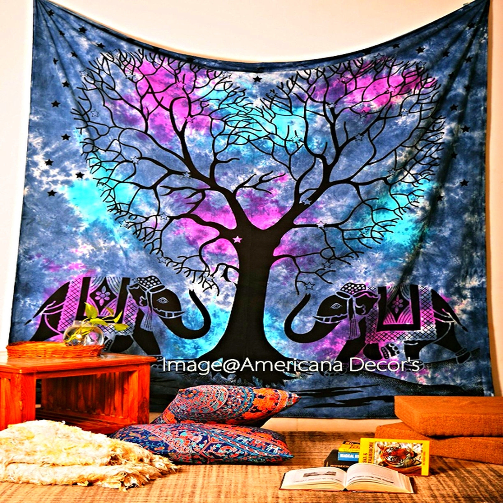 Bohemian Wall Art Tapestry Tree Elephant Indian Bedspread Blanket Throughout Recent Bohemian Wall Art (View 5 of 15)