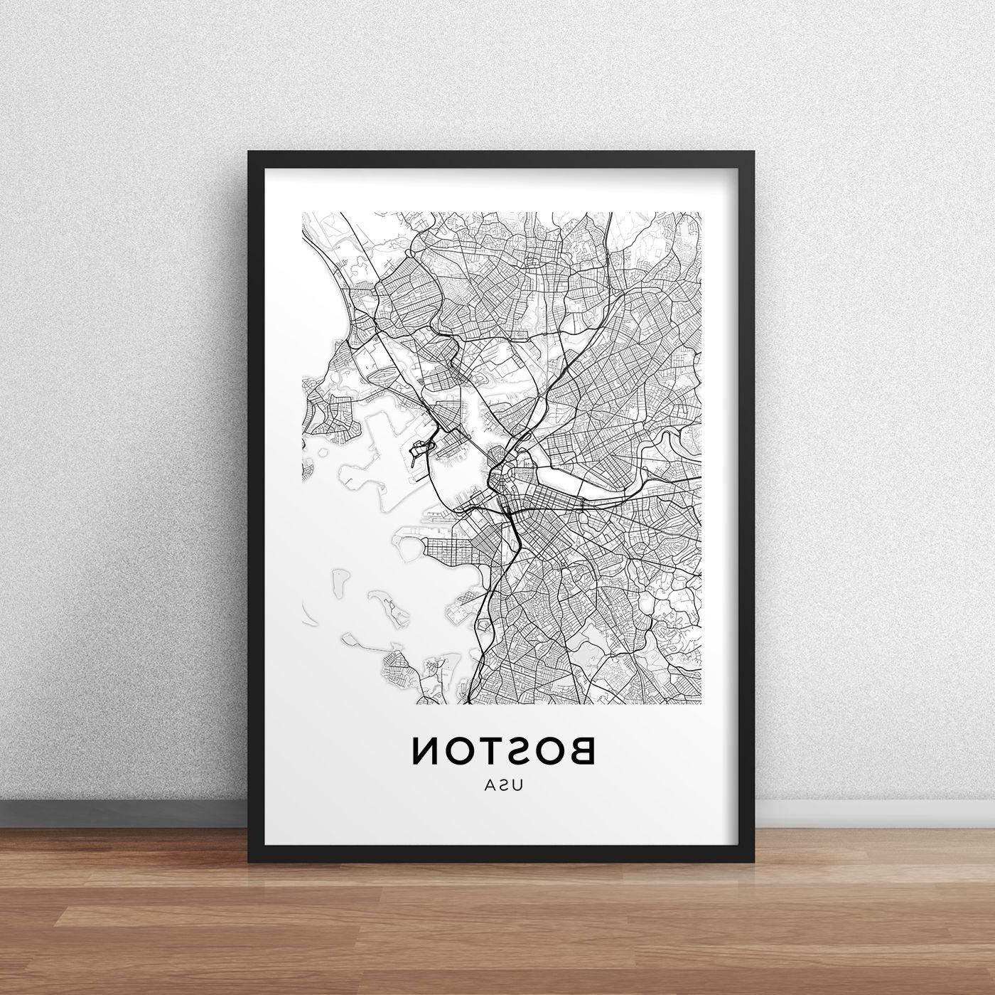 Boston Wall Art Intended For 2018 Boston Map Print, Printable Boston Map, Boston City Map, Boston (View 6 of 15)