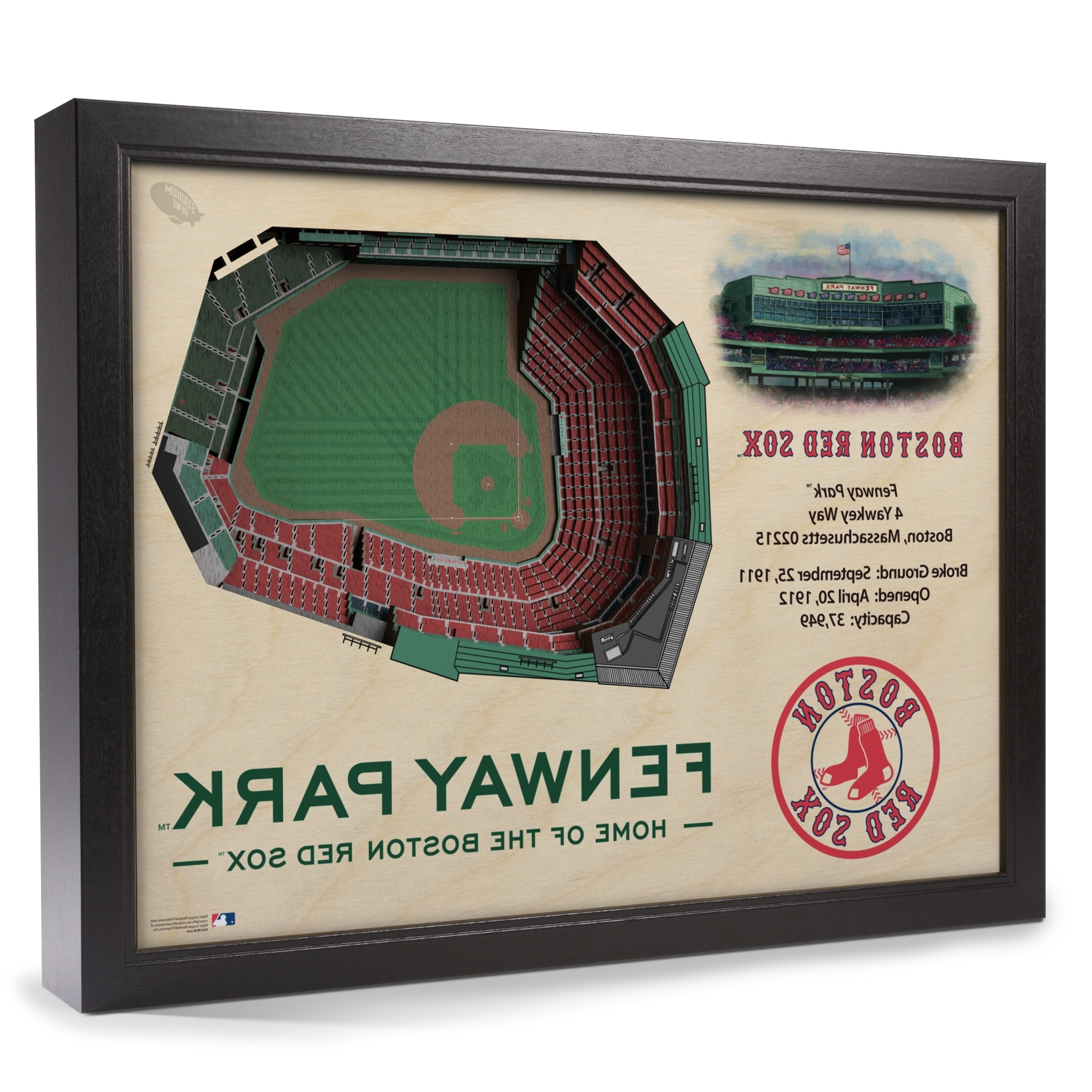 Boston Wall Art Regarding Most Current Boston Red Sox Stadiumview Wall Art – Fenway Park 3 D Reproduction (View 14 of 15)