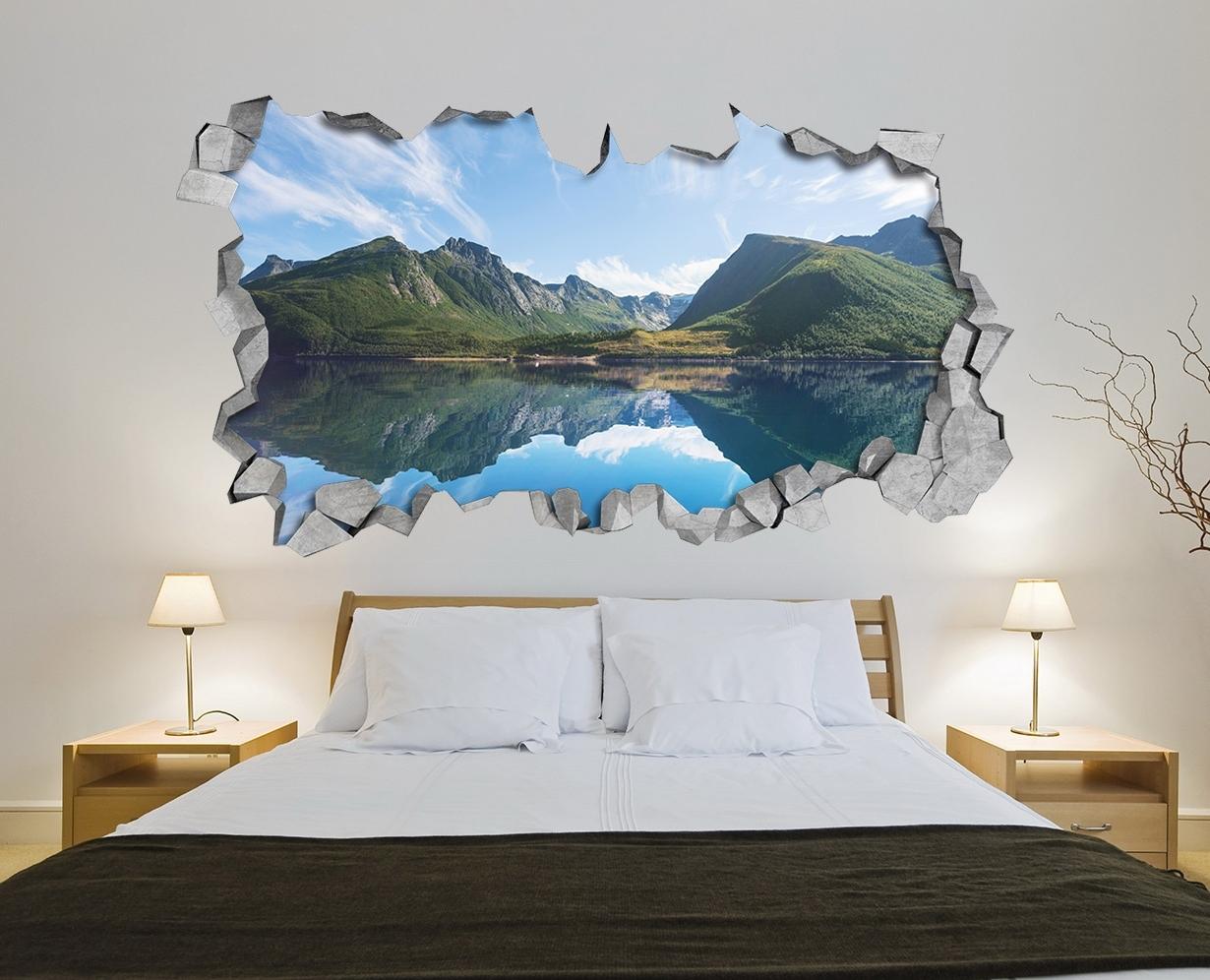 Broken Wall Sticker – Wall Decal – 3D Wallpaper – 3D Wall Decals Throughout Newest 3D Wall Art (View 8 of 15)