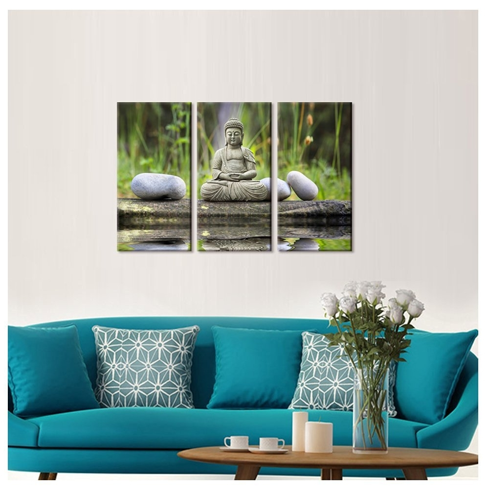 Buddhas Canvas Wall Art Zen Stone Canvas Print Peaceful Buddha In Well Known Turquoise Wall Art (View 15 of 15)