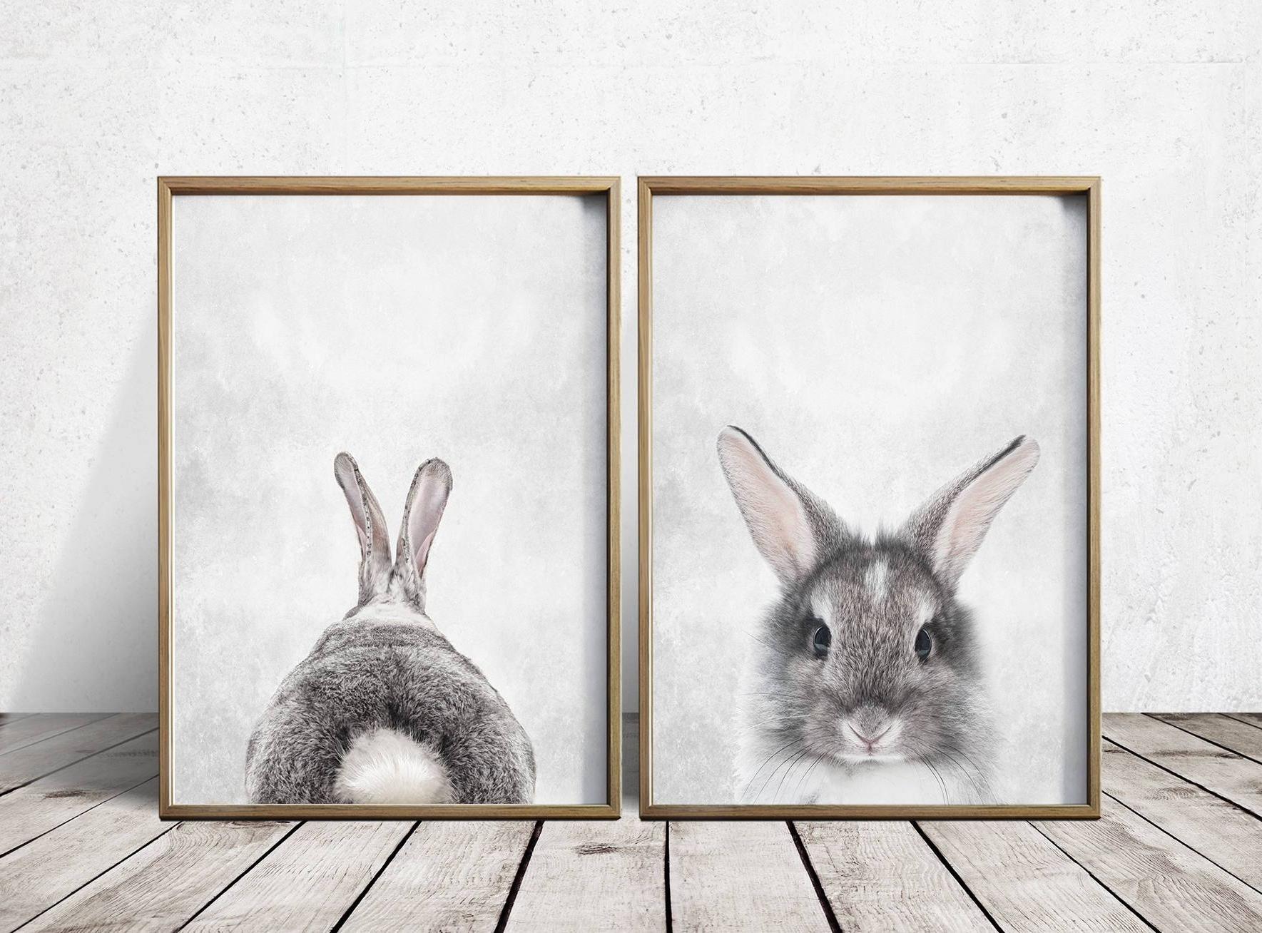 Bunny Wall Art With Regard To Newest Nursery Wall Art Nursery Decor Gray Rabbit Print Bunny, Vintage (View 5 of 15)