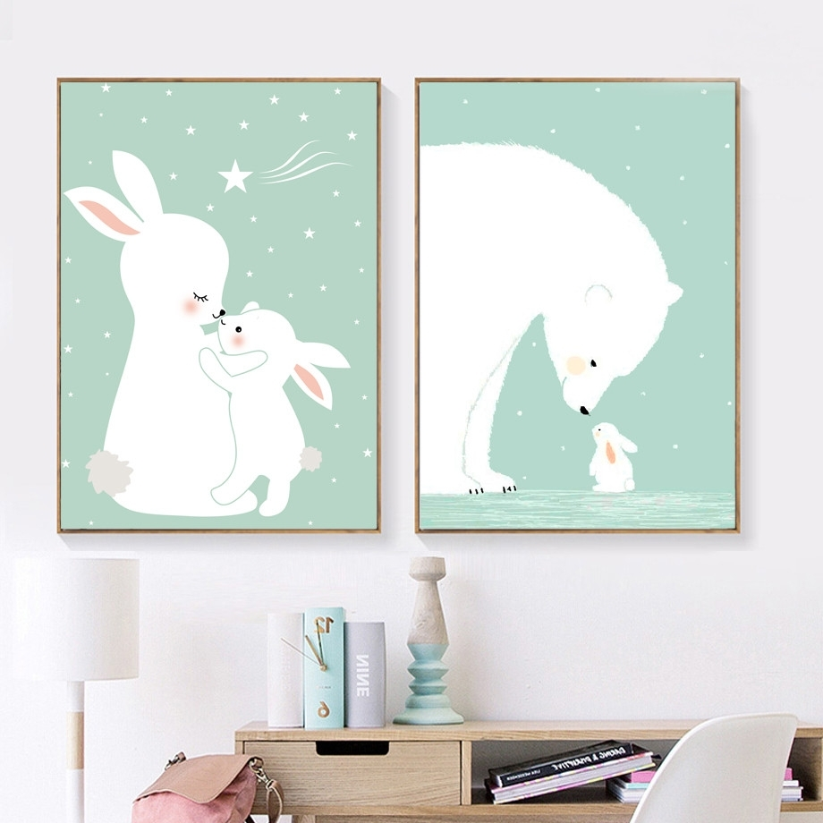Bunny Wall Art With Trendy Afflatus Kawaii Rabbit Nordic Poster Canvas Painting Wall Art Canvas (View 8 of 15)