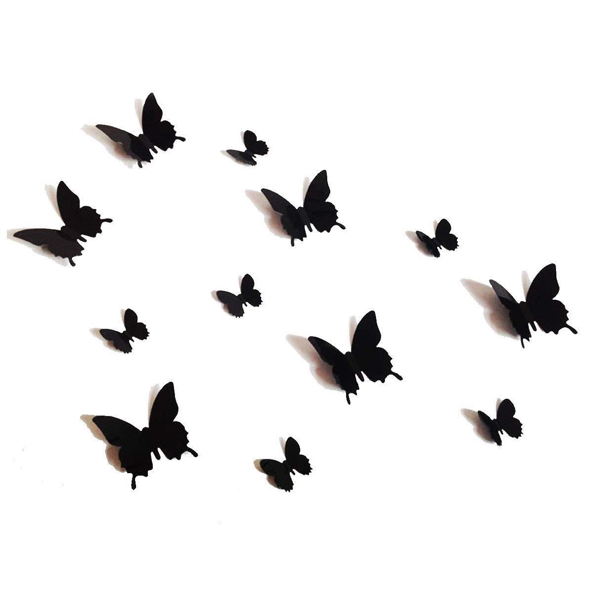 Butterfly Wall Art Regarding Well Known 12Pcs 3D Black Butterfly Wall Stickers Art Decal Pvc Butterflies (View 11 of 15)