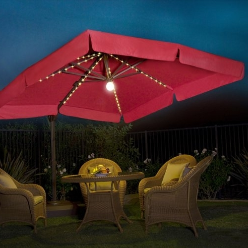 Buy Cheap Milano Pro 10' Square Lighted Offset Patio Umbrella With 2017 Lighted Umbrellas For Patio (View 4 of 15)