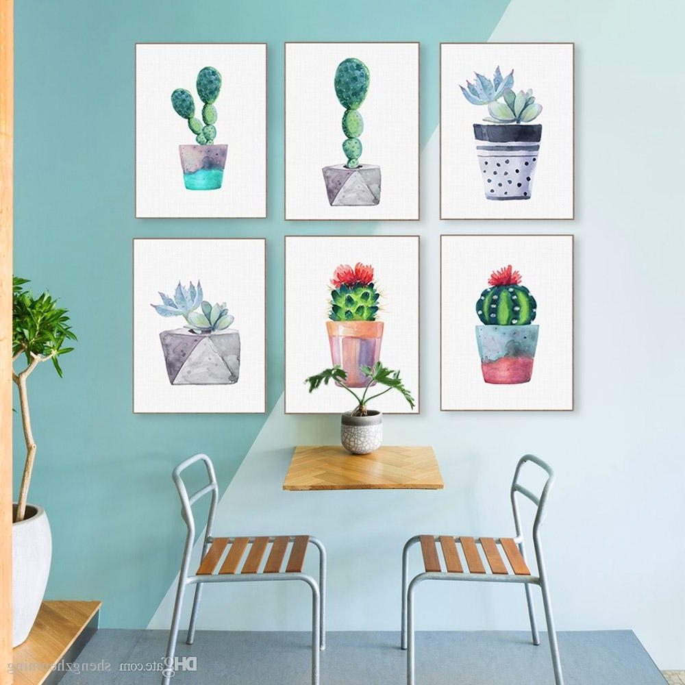 Cactus Wall Art Throughout Recent 2018 Modern Watercolor Green Succulent Plant Cactus Poster Nordic (View 1 of 15)