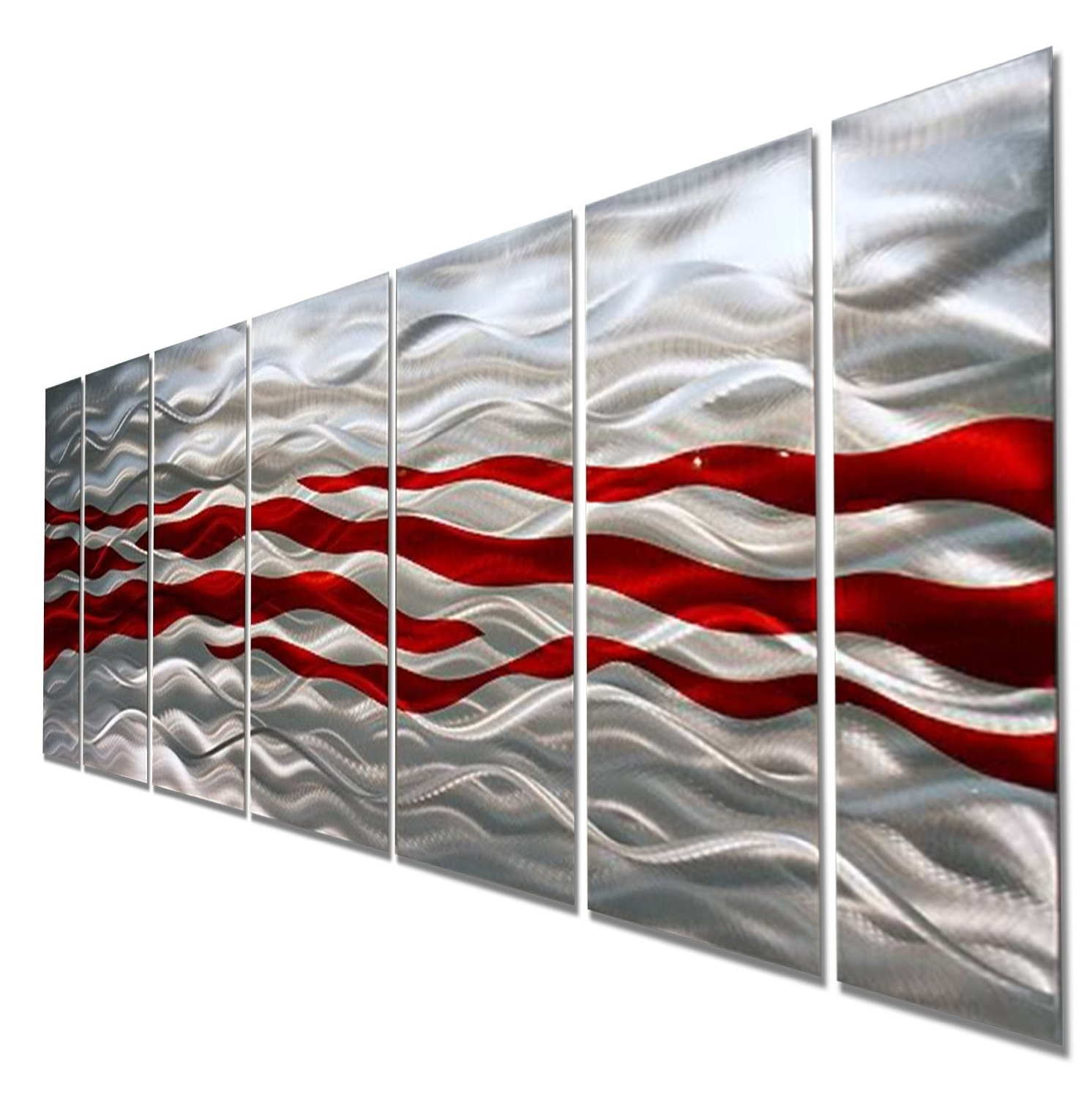 Caliente – Red & Silver Modern Abstract Metal Wall Artjon Allen Regarding Trendy Metal Wall Art Panels (View 2 of 15)