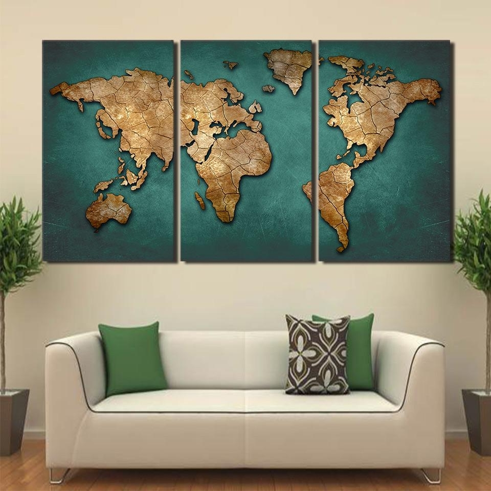 Canvas Art World Map Canvas Painting Vintage Continent Wall Picture In Widely Used Wall Art World Map (View 3 of 15)