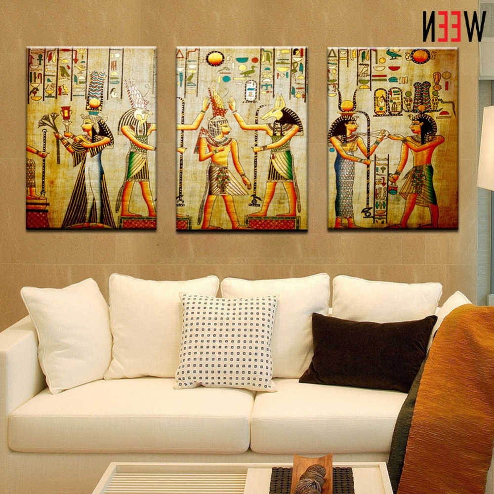 Canvas Painting Triple Abstract Picture Egyptian Mural Room Modern Within Fashionable Modern Framed Wall Art Canvas (View 6 of 15)
