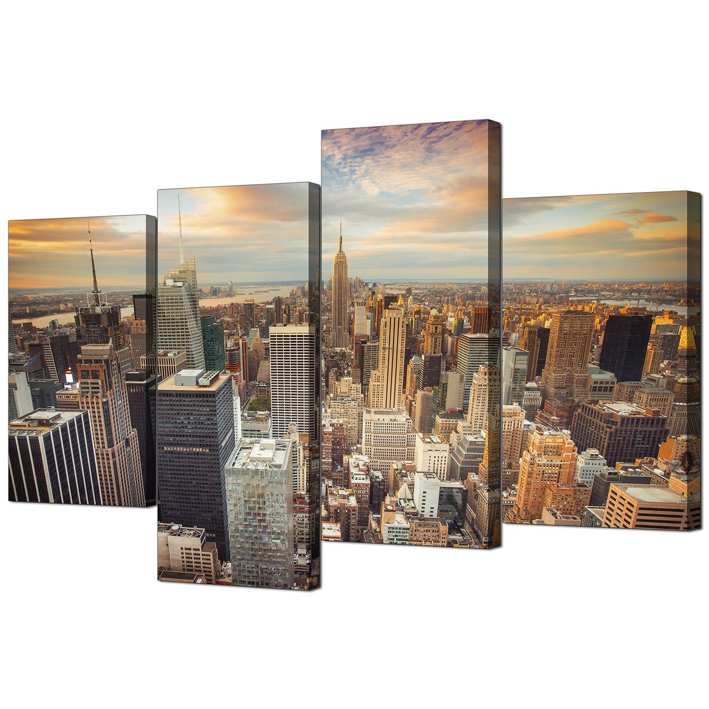 Canvas Prints Of The New York Skyline For Your Living Room – 4 Panel Inside Newest New York Canvas Wall Art (View 11 of 15)