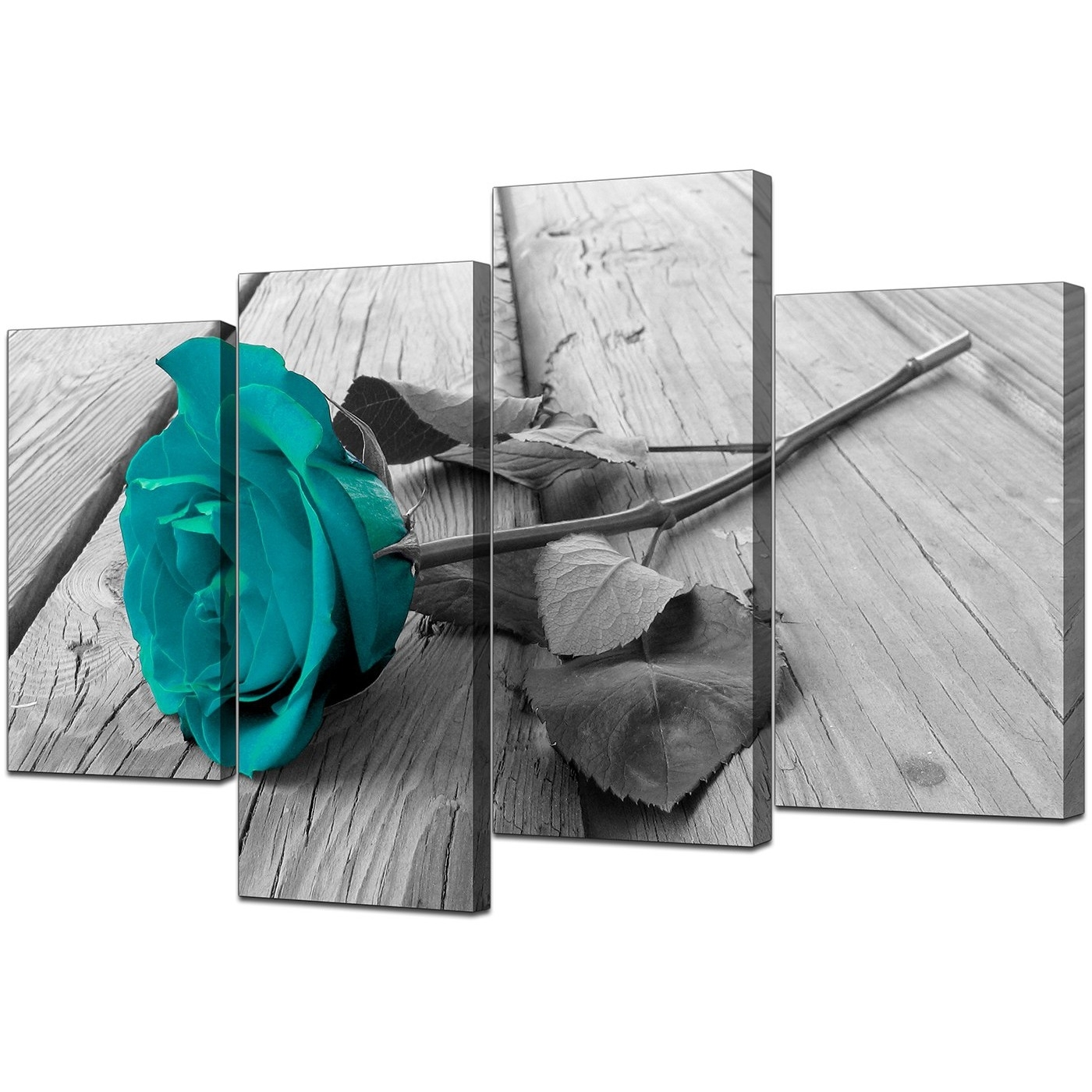 Canvas Prints Uk Of Teal Rose In Black & White For Your Bathroom Regarding Well Liked Teal Wall Art (View 4 of 15)