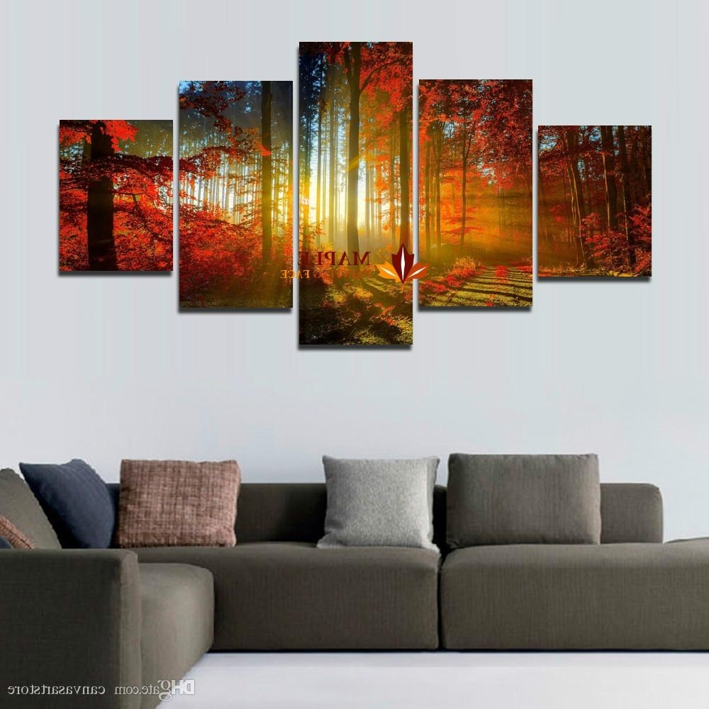 Canvas Wall Art For Most Recent 5 Panel Forest Painting Canvas Wall Art Picture Home Decoration For (View 2 of 15)