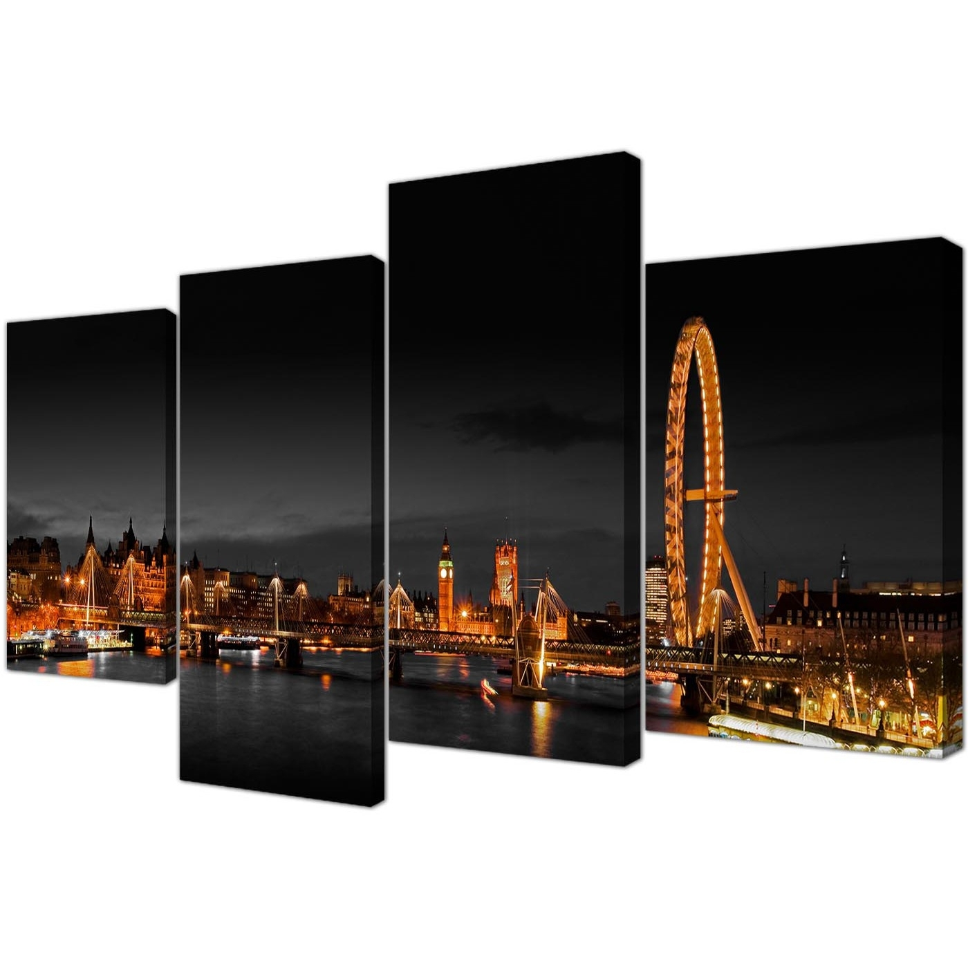 Canvas Wall Art Of Night Time London Eye For Your Office – Set Of 4 Pertaining To Famous London Wall Art (View 10 of 15)
