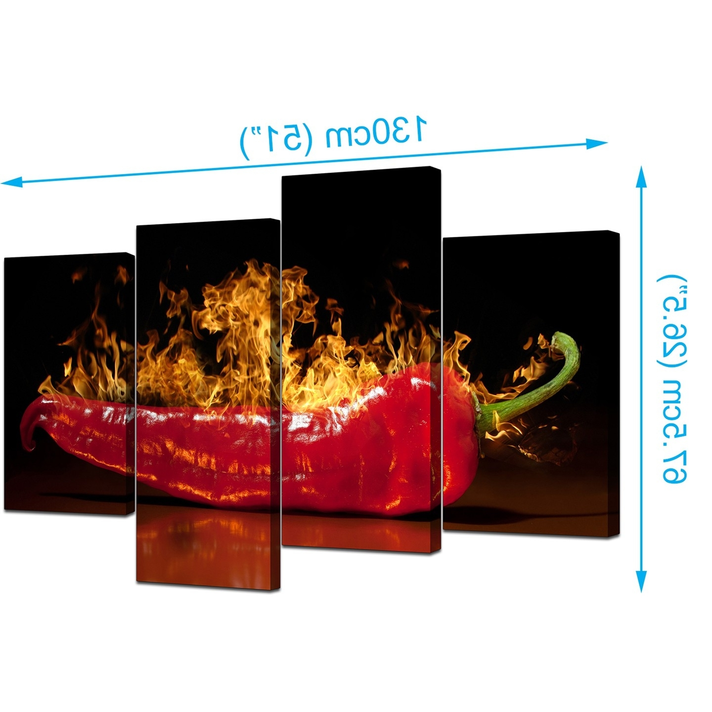 Canvas Wall Art Of Red Chili On Fire For Your Kitchen Throughout Newest Kitchen Canvas Wall Art (View 2 of 15)
