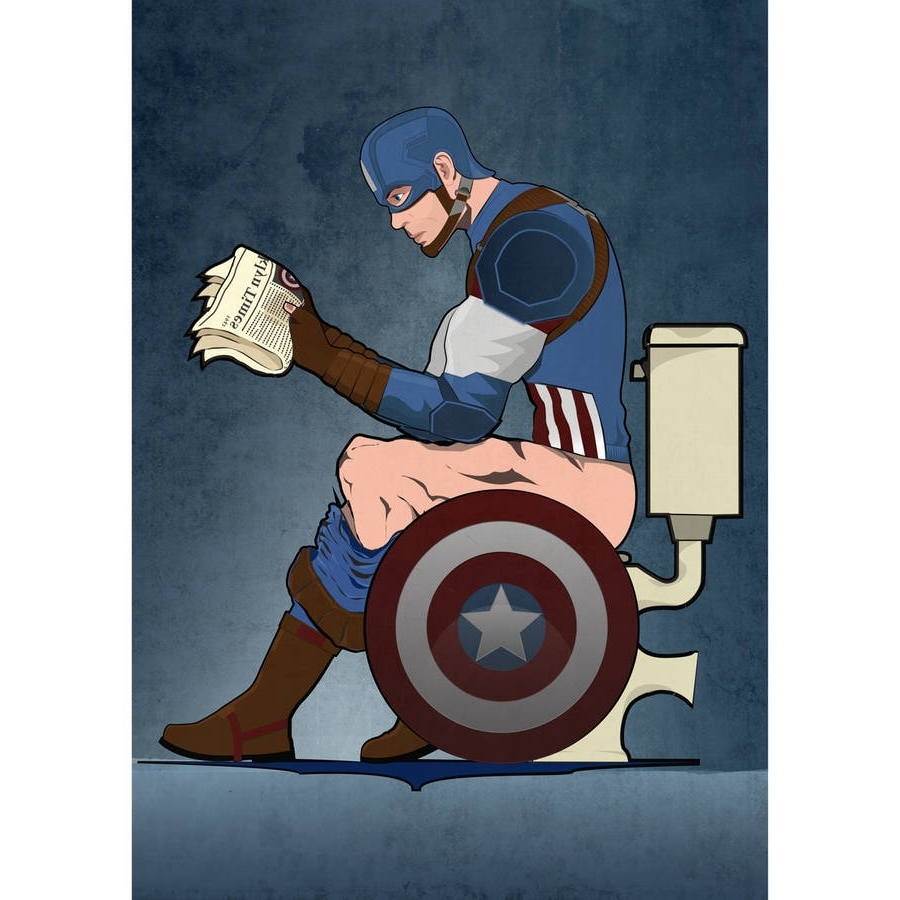 Captain America On The Toilet Poster Wall Art Printwyatt9 intended for Popular Captain America Wall Art