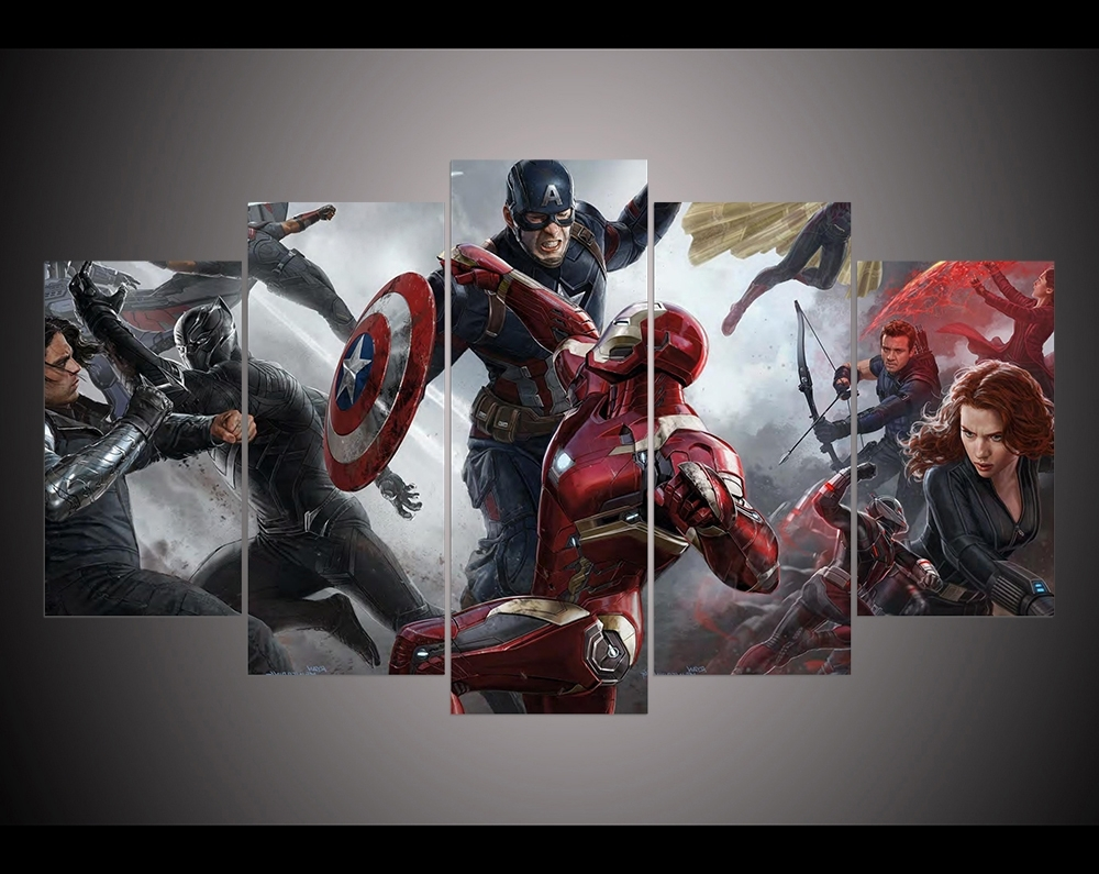 Captain America Wall Art In Most Up To Date Print Captain America Civil War Concept Art Movie Poster Modern Home (View 3 of 15)