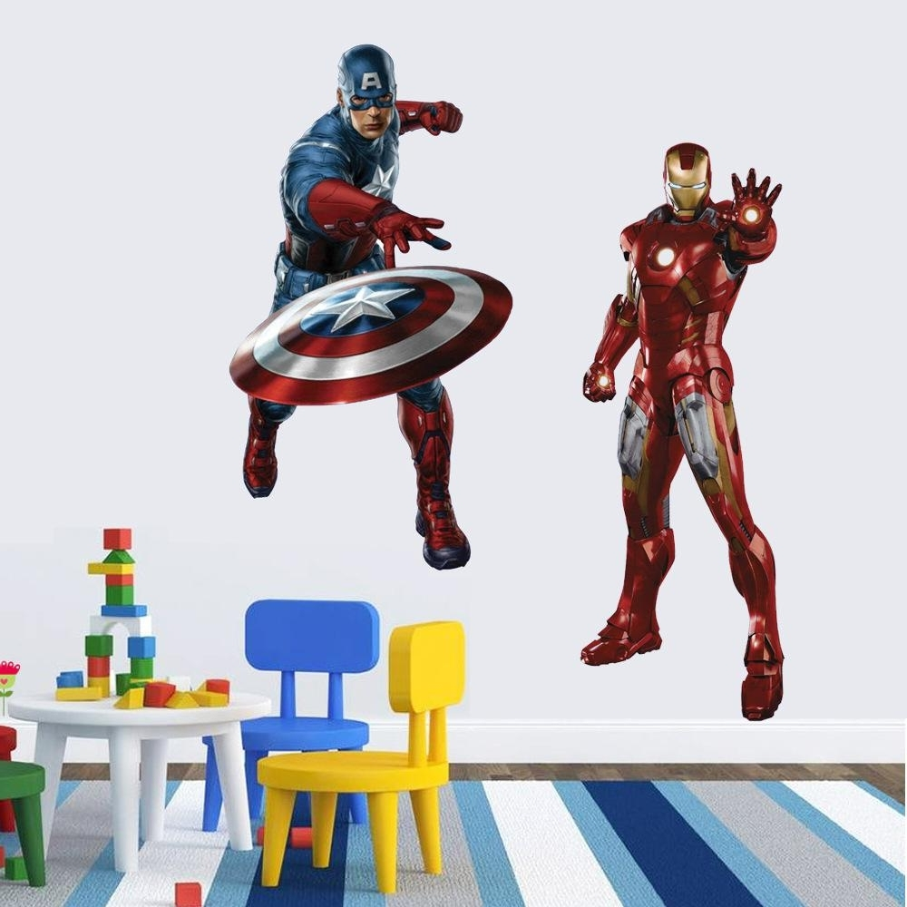 Captain America Wall Art Inside Latest Iron Man Captain America Wall Stickers 4 Styles Super Hero The Hulk (View 4 of 15)