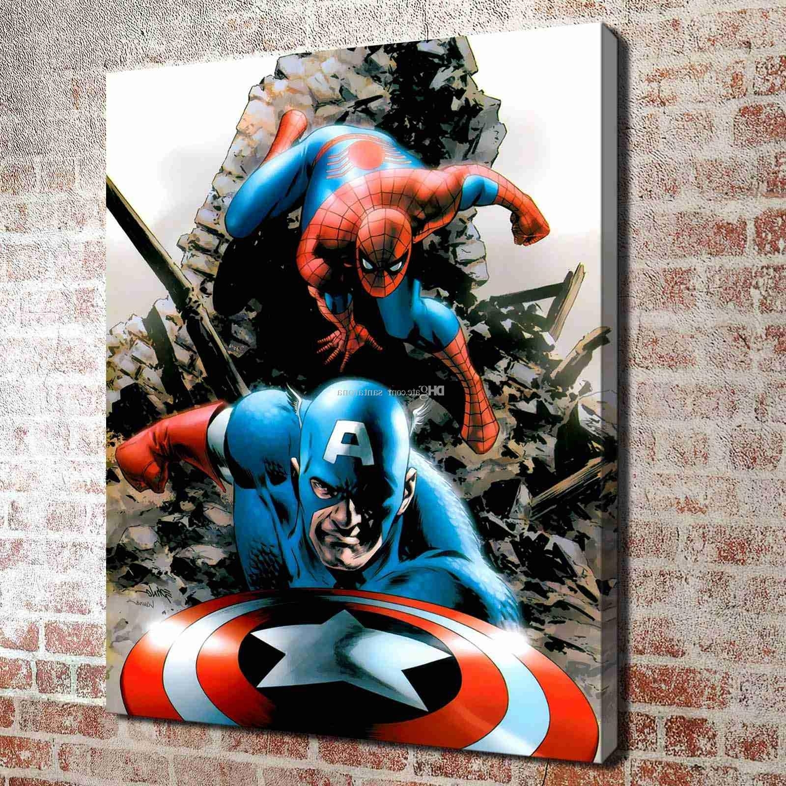 Captain America Wall Art Regarding Trendy 2018 No Frame Spiderman And Captain America Hd Canvas Print Wall Art (View 9 of 15)