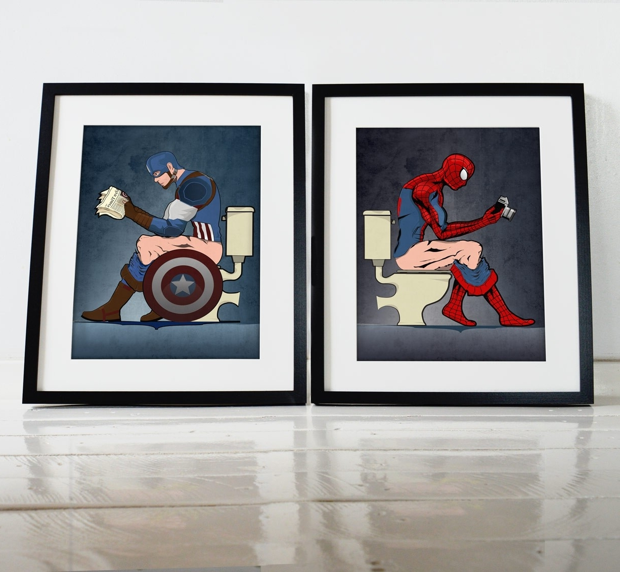 Captain America Wall Art With Regard To Best And Newest Superhero Spiderman And Captain America On The Toilet Poster Wall (View 6 of 15)