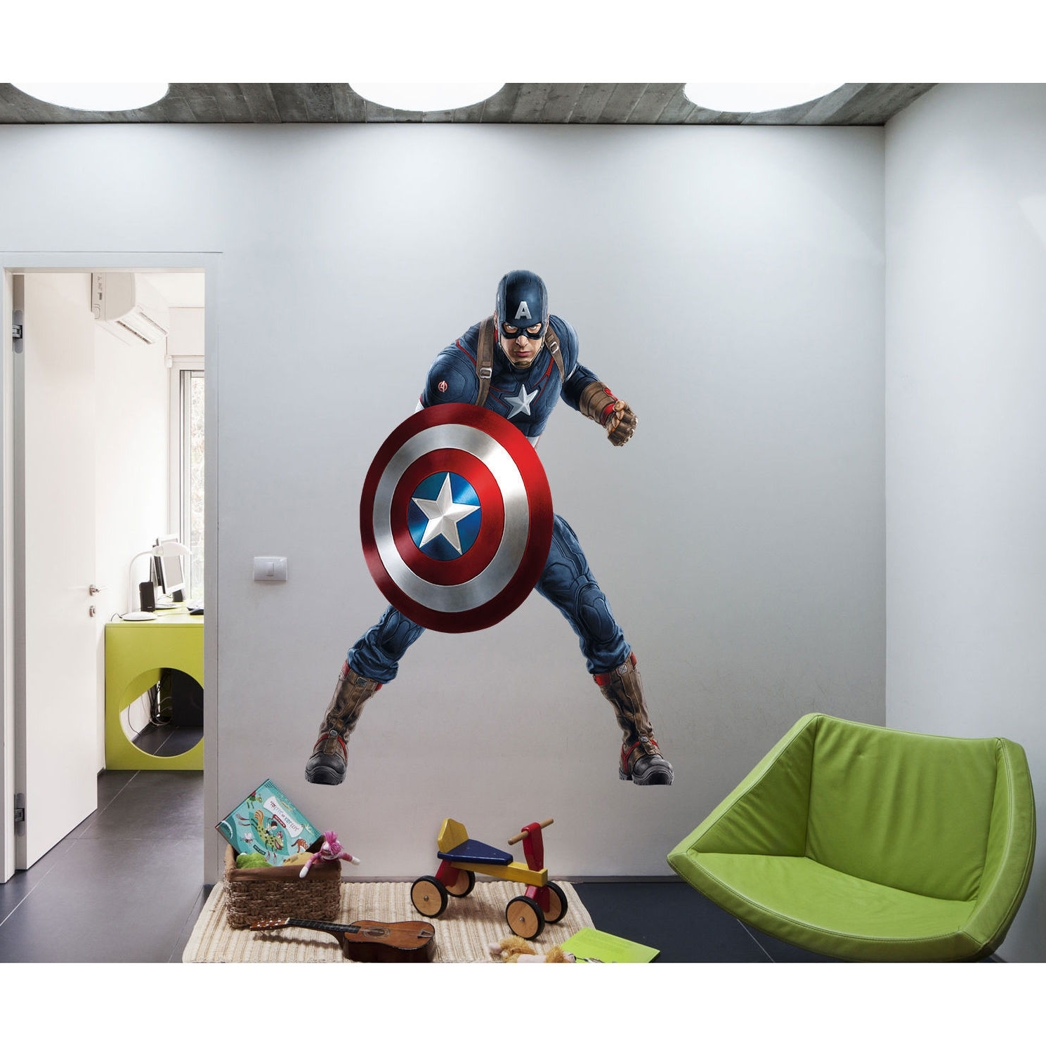 Captain America Wall Art Within Most Up To Date Shop Full Color Superhero Captain America Sticker, Decal, Wall Art (View 7 of 15)