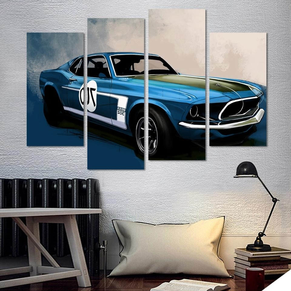 Car Canvas Wall Art Regarding Preferred 4 Pcs Blue Sports Car Wall Art Painting Home Decoration Living Room (View 3 of 15)