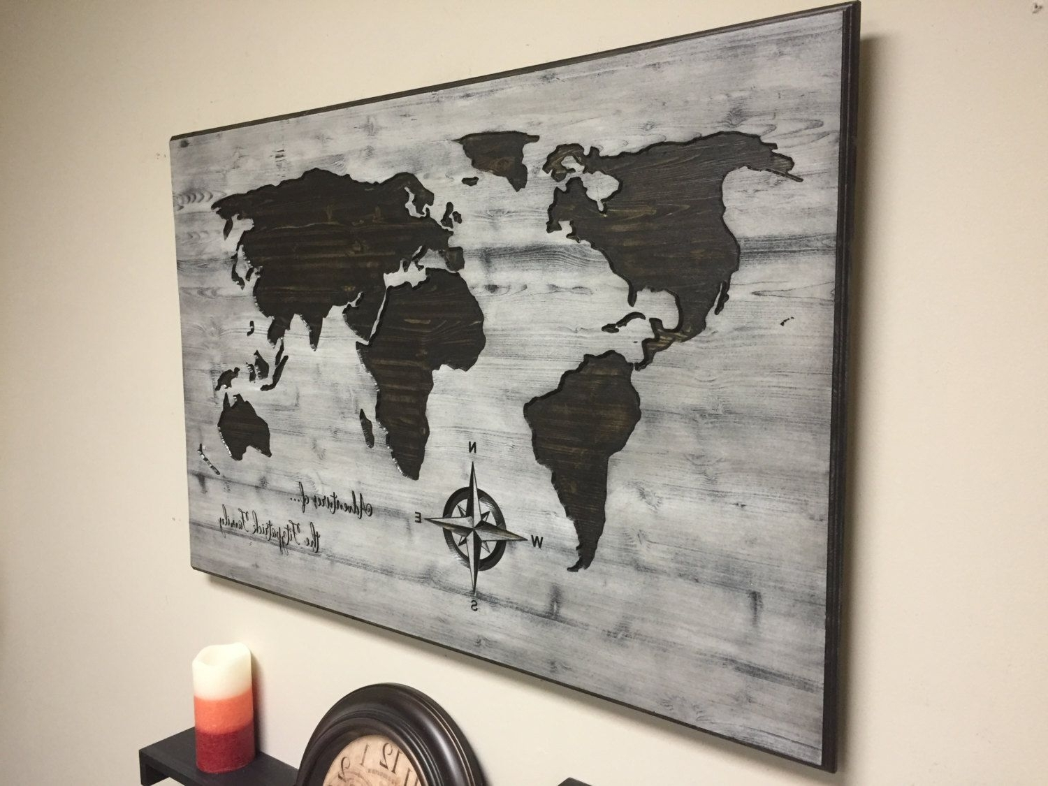 Carved Wood For Wooden World Map Wall Art (View 2 of 15)