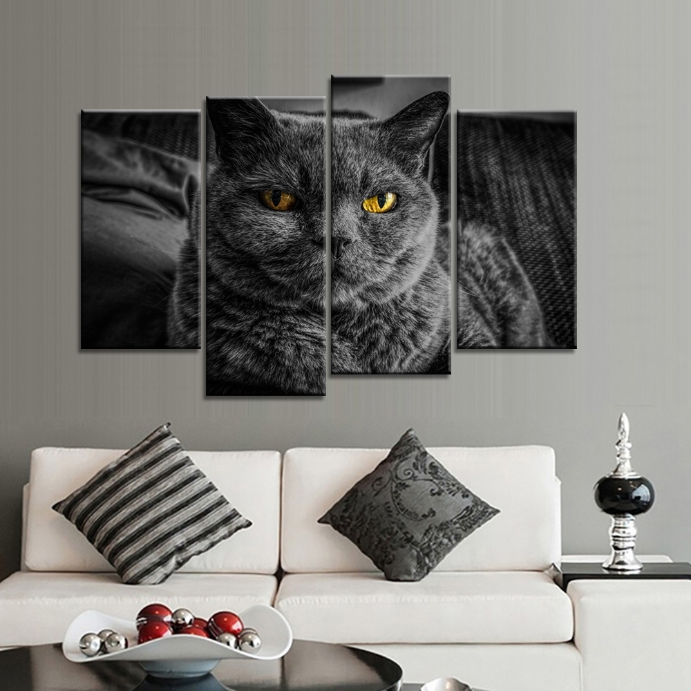Cat Canvas Wall Art Pertaining To Favorite 4 Pieces Home Decor Decorative Oil Spray Painting Animals Dog And (View 14 of 15)