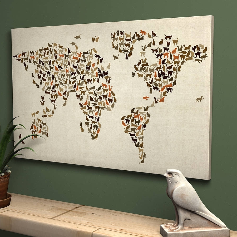 Cats World Map Art Printartpause (View 4 of 15)