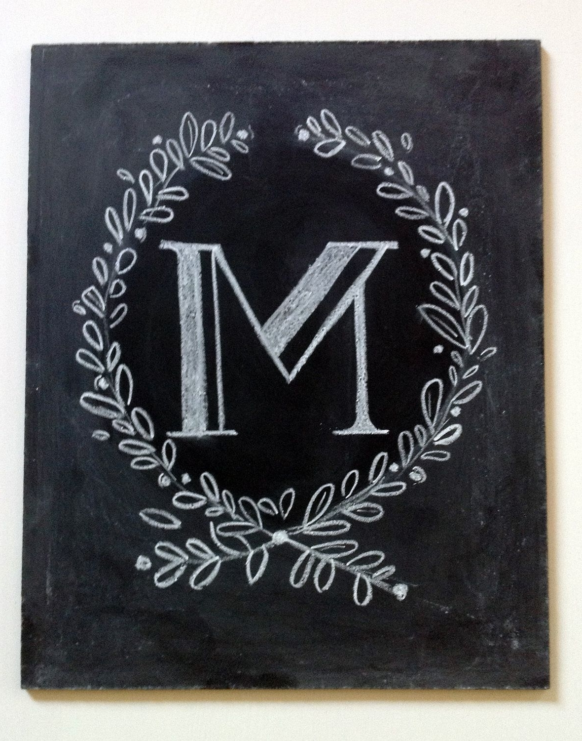 Chalkboard Wall Art Intended For Trendy Vintage Style Custom Hand Painted Monogram  Chalkboard Art Sign (View 1 of 15)