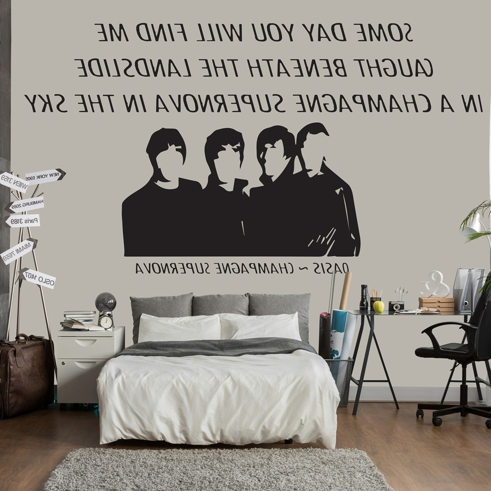Champagne Supernova Wall Sticker Oasis Wall Art With Regard To Most Current Song Lyric Wall Art (View 14 of 15)