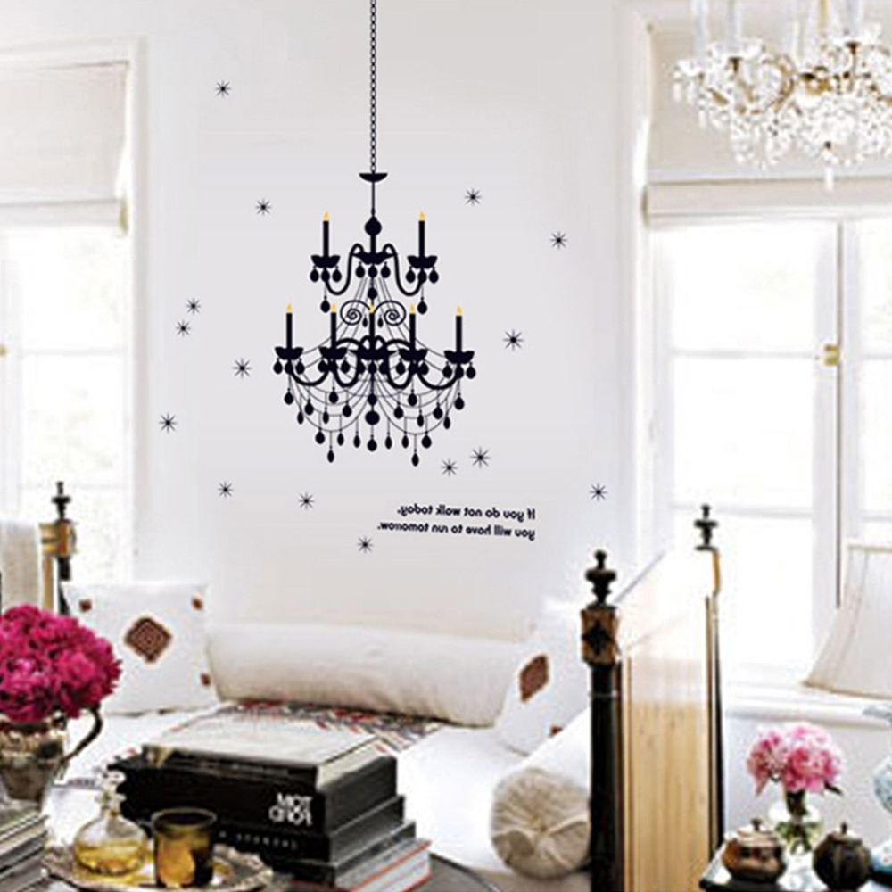 Chandelier Lighting Fancy Wall Decal Vinyl Art Words Sticker Art Intended For Widely Used Chandelier Wall Art (View 4 of 15)