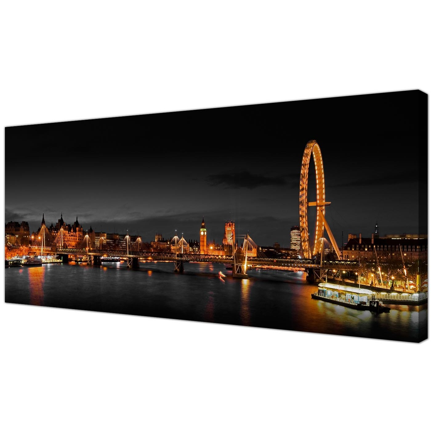 Cheap Canvas Wall Art For Most Recently Released Panoramic Canvas Wall Art Of London Eye At Night For Your Living Room (View 9 of 15)