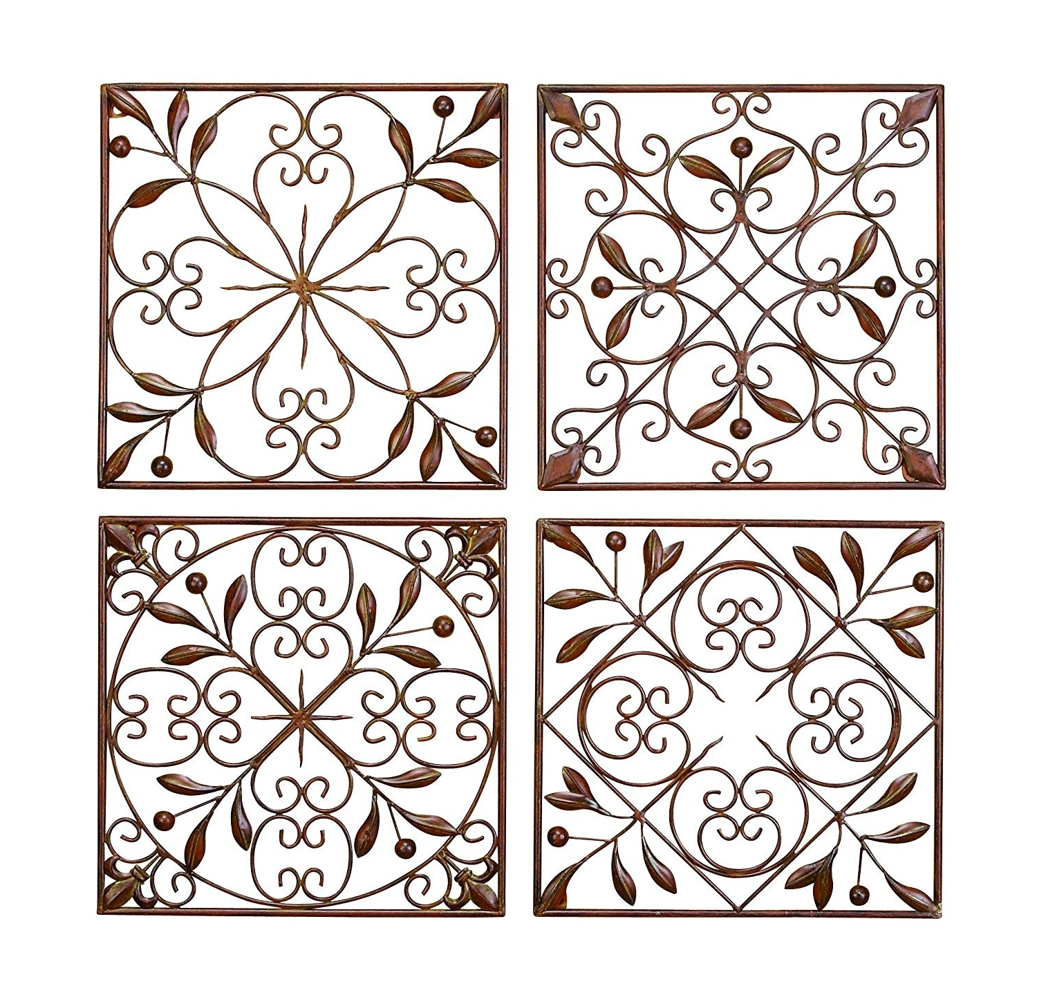 Cheap Metal Wall Art Throughout Most Recently Released Amazon: Deco 79 50035 Metal Wall Decor Set Of 4: Home & Kitchen (View 10 of 15)
