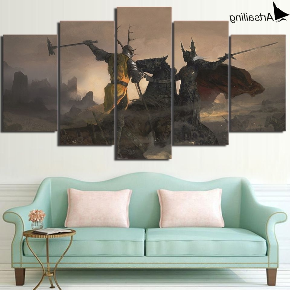 Check Discount Hd Print 5 Piece Canvas Art Game Of Thrones Painting Throughout Most Current Discount Wall Art (View 11 of 15)