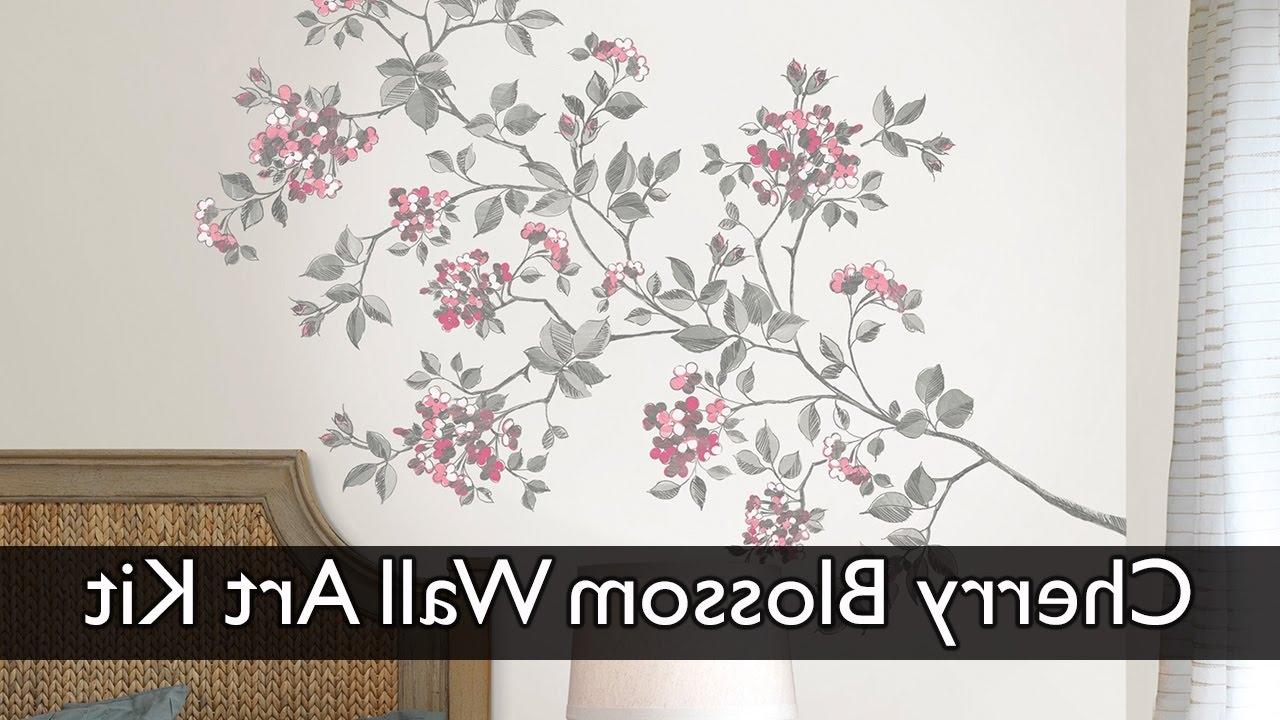 Cherry Blossom Wall Art Decal Kit – Youtube Inside Current Cherry Blossom Wall Art (View 1 of 15)