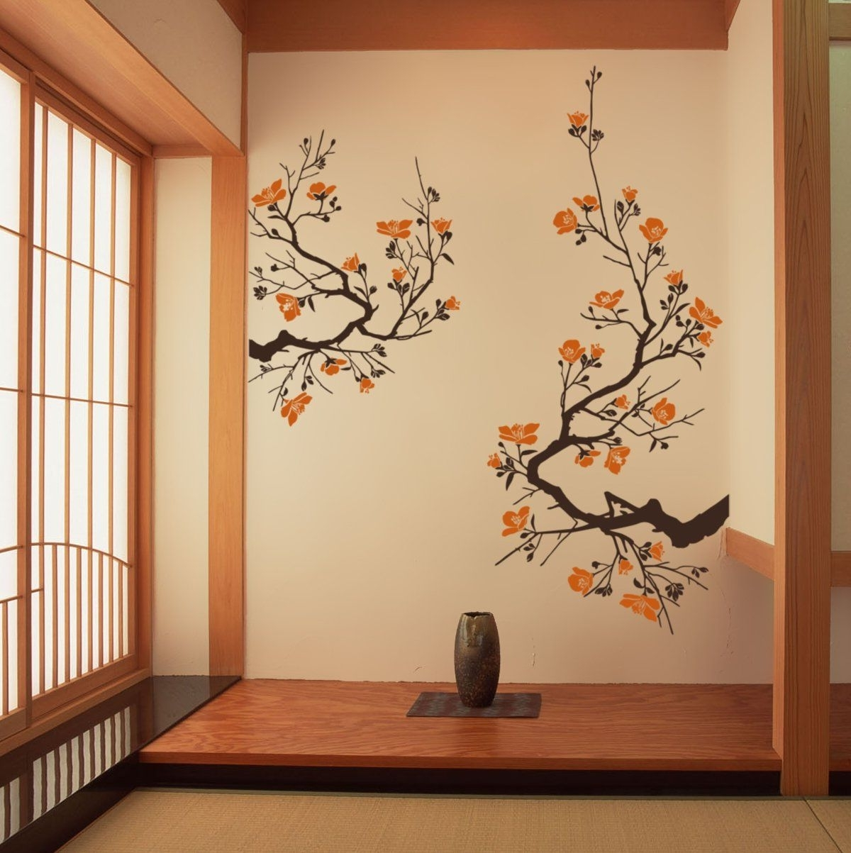 Cherry Blossom Wall Sticker Large Decal Decor (Default (Brown Regarding Popular Cherry Blossom Wall Art (View 14 of 15)