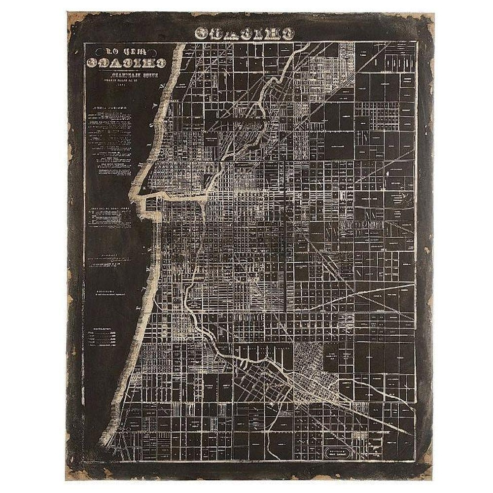 Chicago Map Wall Art Intended For 2017 Unbranded 45 In. H X 35.5 In (View 1 of 15)